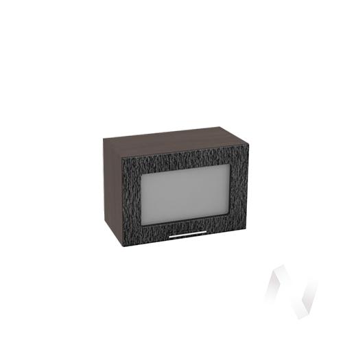 """Кухня """"Валерия-М"""": Шкаф верхний горизонтальный со стеклом 500, ШВГС 500 (дождь черный/корпус венге)"""