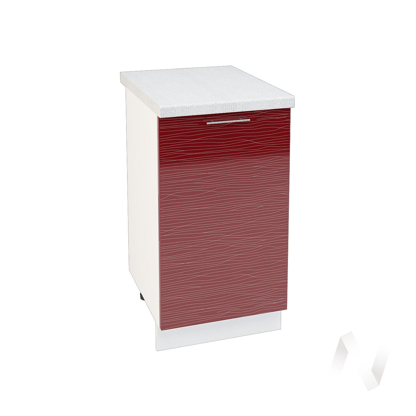 "Кухня ""Валерия-М"": Шкаф нижний 450, ШН 450 (Страйп красный/корпус белый)"