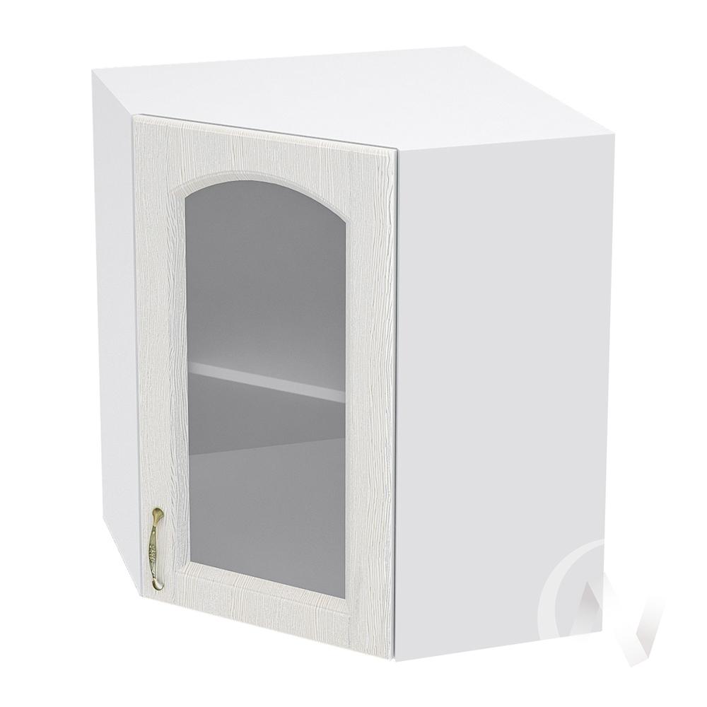 """Кухня """"Верона"""": Шкаф верхний угловой со стеклом 590 правый, ШВУС 590 (ясень золотистый/корпус белый)"""