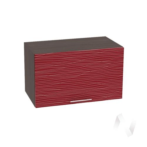 """Кухня """"Валерия-М"""": Шкаф верхний горизонтальный 600, ШВГ 600 (Страйп красный/корпус венге)"""