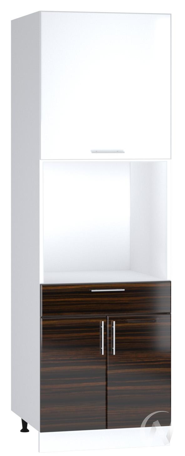 "Кухня ""Норден"": Шкаф пенал с ящиком 600, ШП1Я 600 (эбен/белый глянец/корпус белый)"
