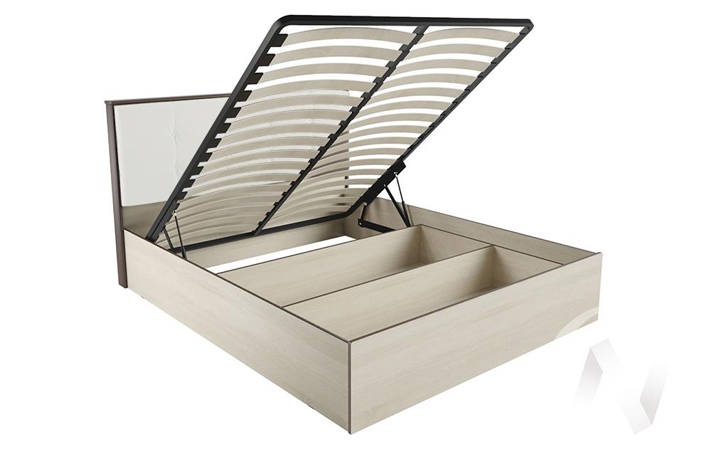 """Кровать """"ЛК-2 1,6"""" Ортопед с подъёмным механизмом (Дуб сонома/Экокожа милк)"""