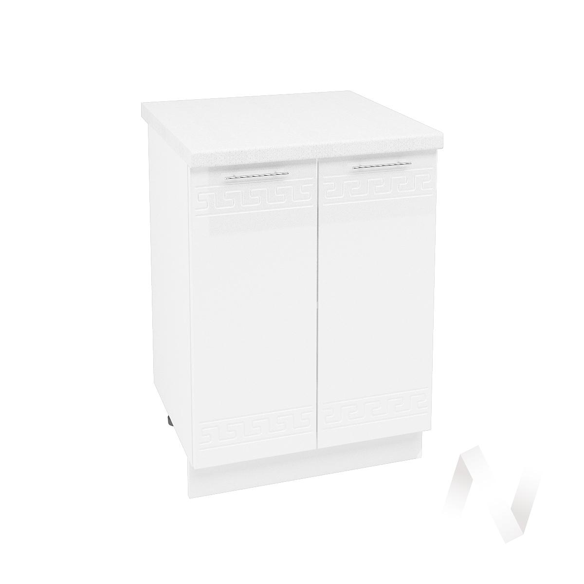 """Кухня """"Греция"""": Шкаф нижний 600, ШН 600 (белый металлик/корпус белый)"""