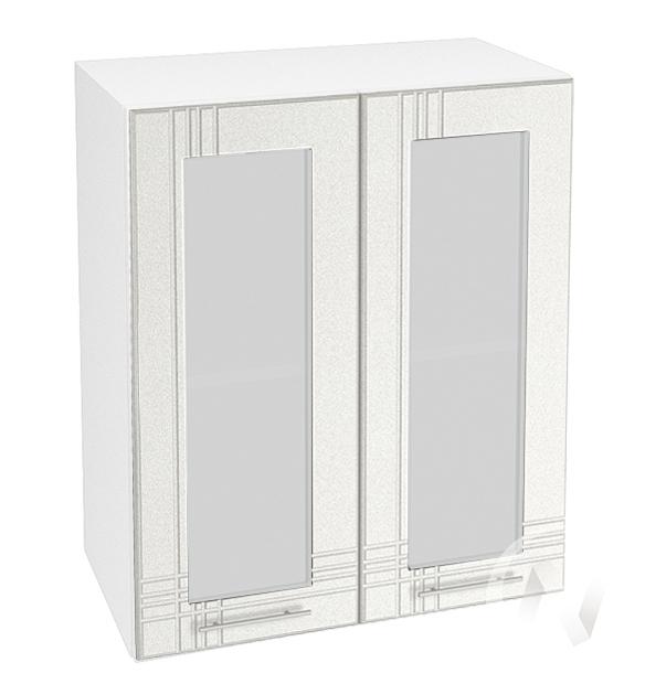 """Кухня """"Струна"""": Шкаф верхний со стеклом 600, ШВС 600 (белый металлик/корпус белый)"""