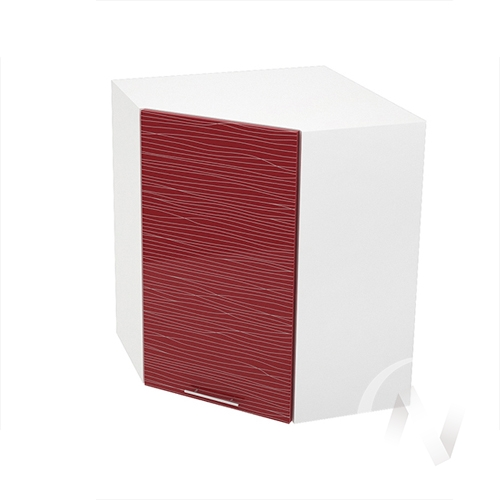 """Кухня """"Валерия-М"""": Шкаф верхний угловой 590, ШВУ 590 (Страйп красный/корпус белый)"""
