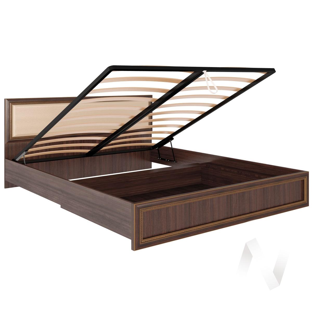 Кровать с подъемным механизмом и мягкой спинкой М11 Спальня Беатрис (орех гепланкт)