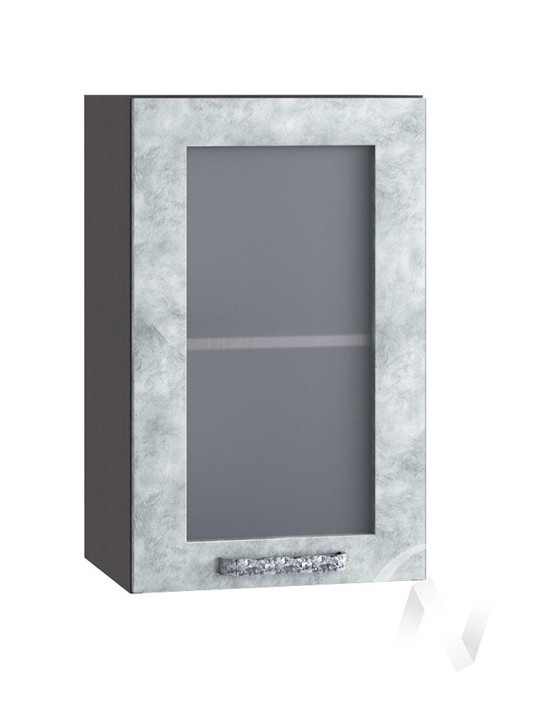 "Кухня ""Лофт"": Шкаф верхний со стеклом 400, ШВС 400 (Бетон серый/корпус венге)"