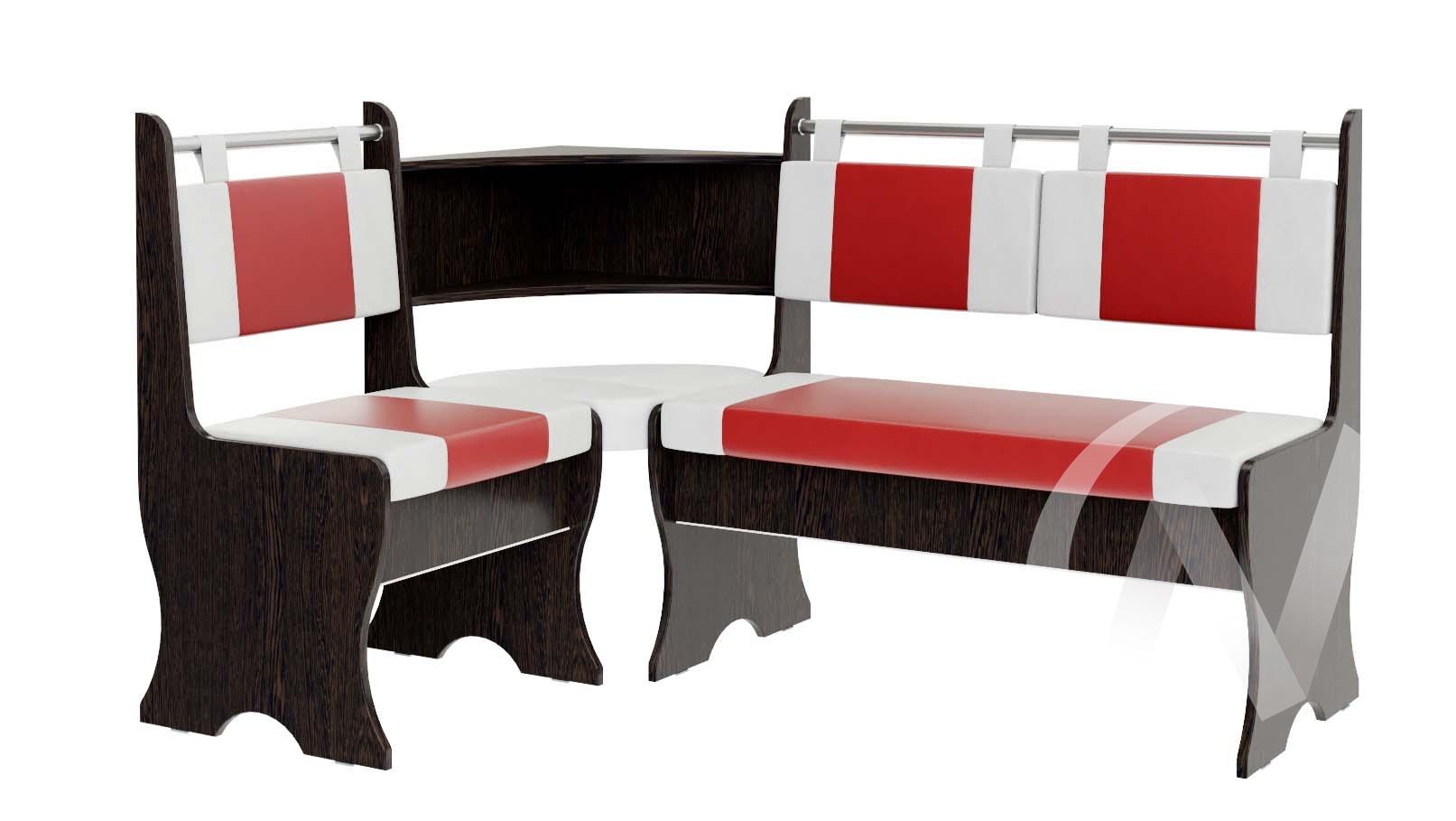 Скамья угловая Дельта кожзам (венге/красный,белый)  в Томске — интернет магазин МИРА-мебель