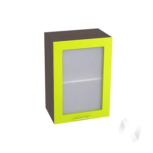 """Кухня """"Валерия-М"""": Шкаф верхний со стеклом 500, ШВС 500 (лайм глянец/корпус венге)"""