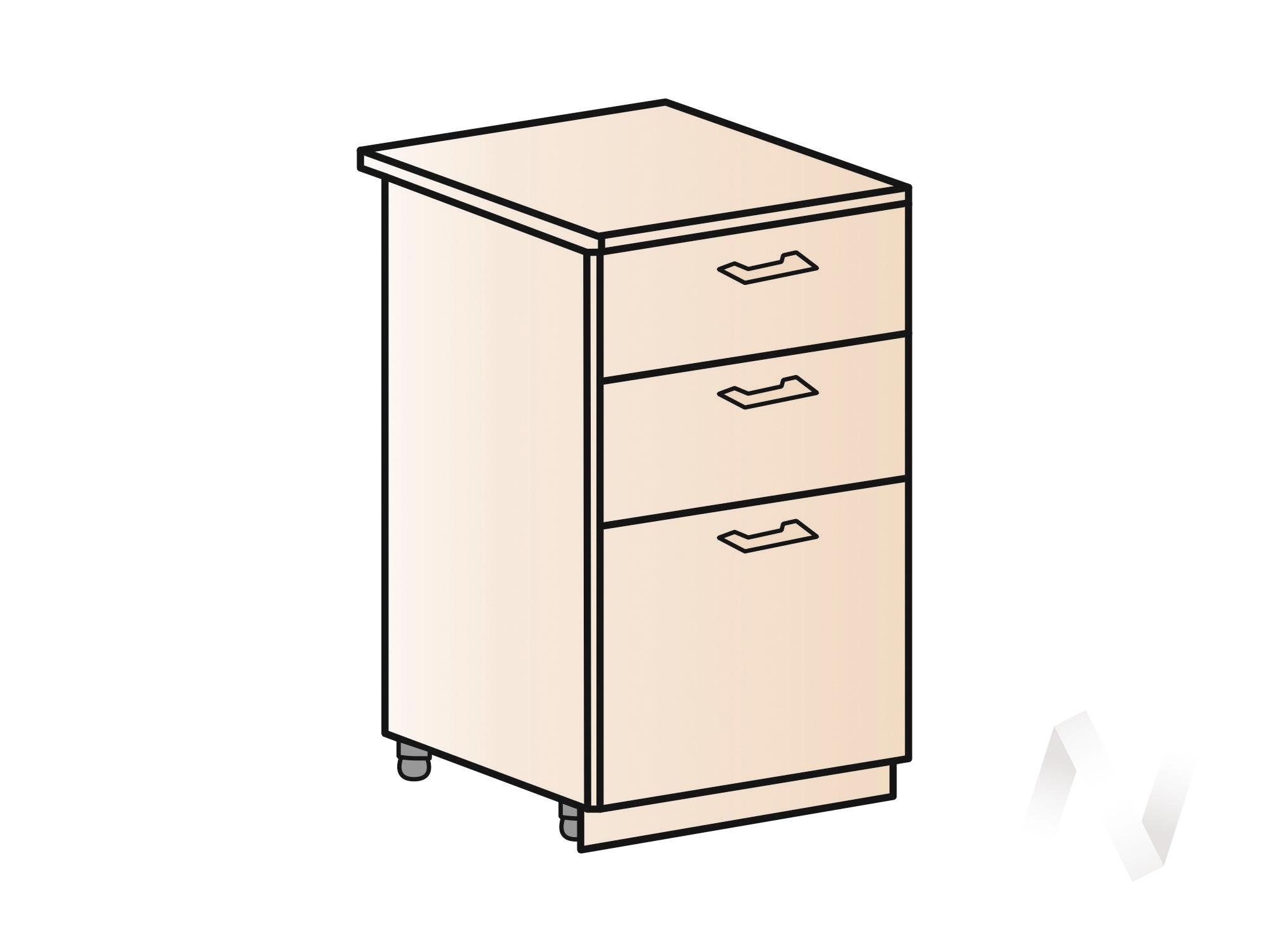 """Кухня """"Люкс"""": Шкаф нижний с 3-мя ящиками 500, ШН3Я 500 (Шелк венге/корпус венге) в Томске — авторская мебель Экостиль"""