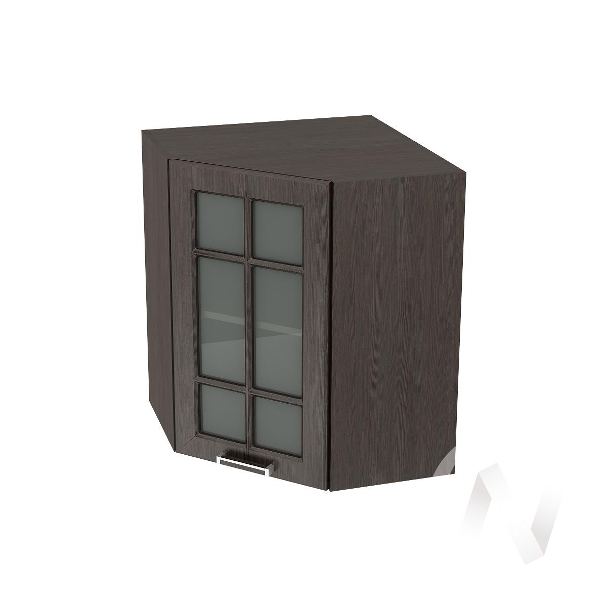 """Кухня """"Прага"""": Шкаф верхний угловой со стеклом 590, ШВУС 590 (венге/корпус венге)"""