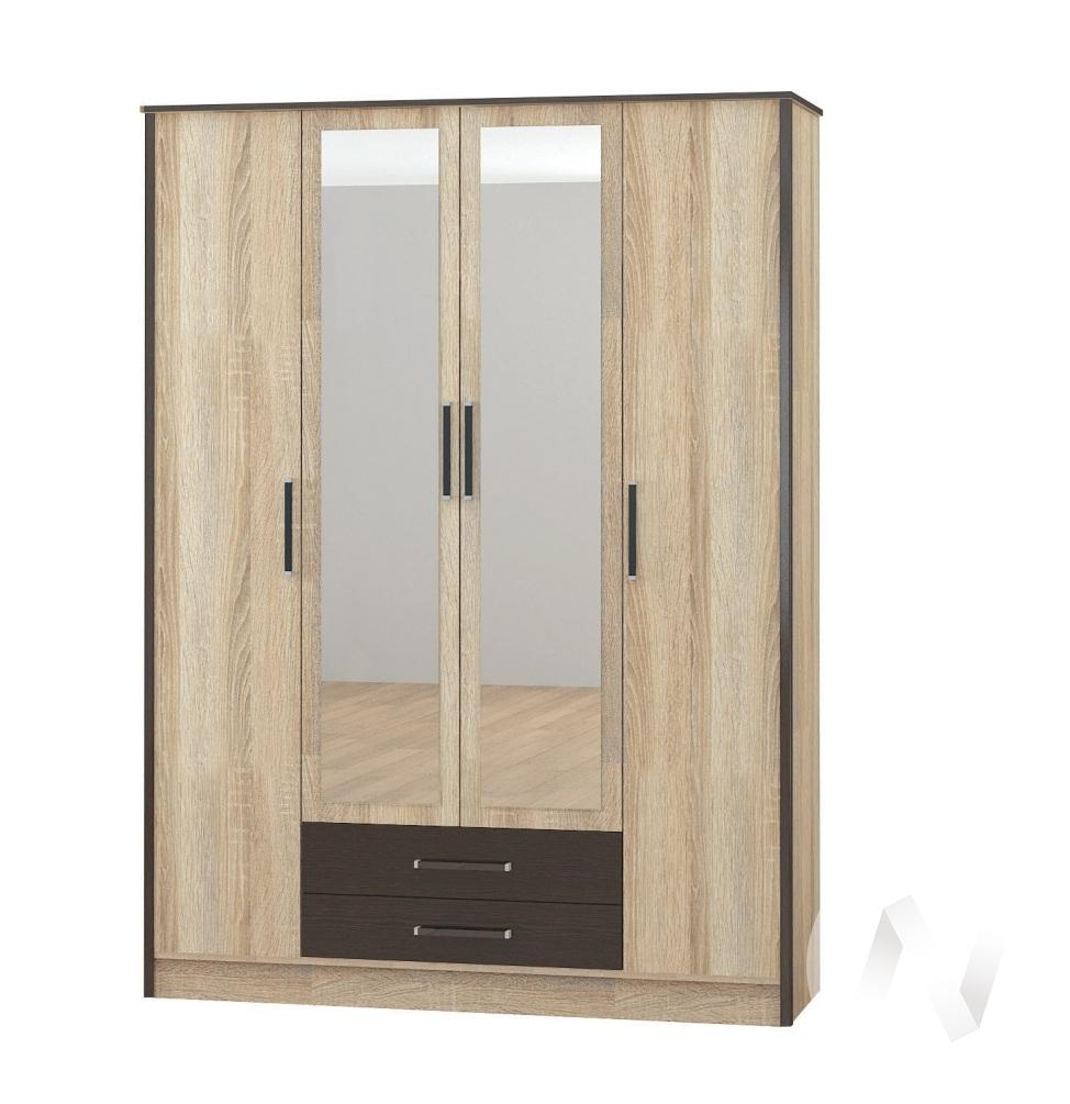 Шкаф 4х ств Спальня Лирика (дуб сонома/венге)