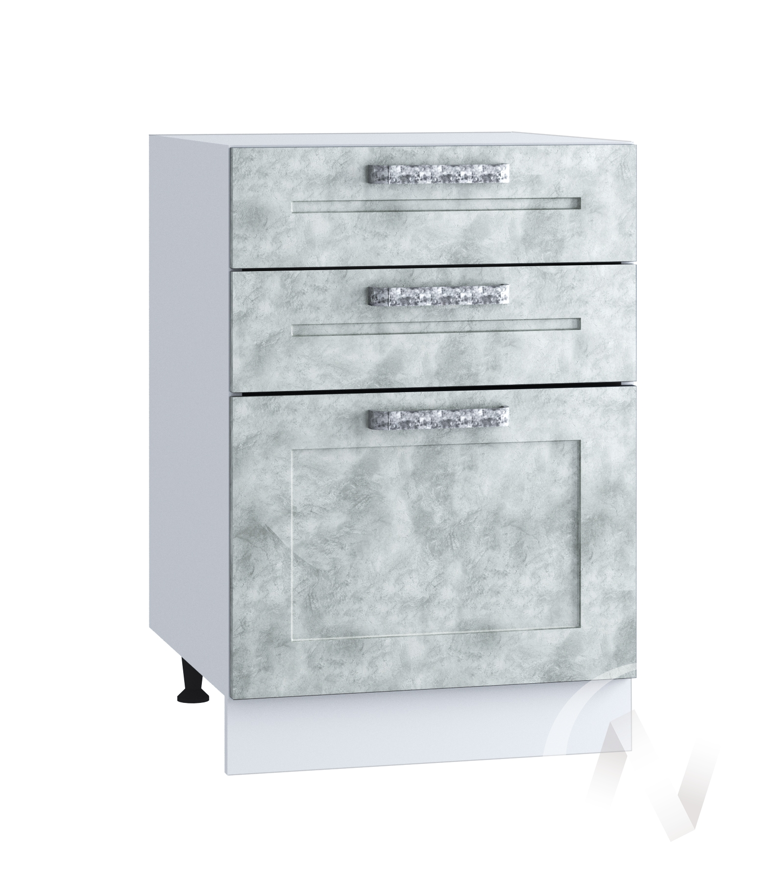 "Кухня ""Лофт"": Шкаф нижний с 3-мя ящиками 500, ШН3Я 500 (Бетон серый/корпус белый)"