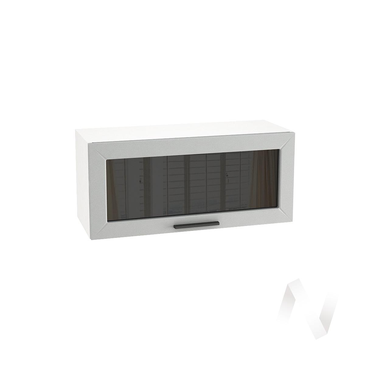 """Кухня """"Глетчер"""": Шкаф верхний горизонтальный со стеклом 800, ШВГС 800 (Гейнсборо силк/корпус белый)"""