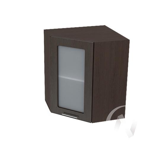 """Кухня """"Валерия-М"""": Шкаф верхний угловой со стеклом 590, ШВУС 590 (венге/корпус венге)"""