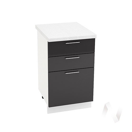 """Кухня """"Валерия-М"""": Шкаф нижний с 3-мя ящиками 500, ШН3Я 500 (черный металлик/корпус белый)"""