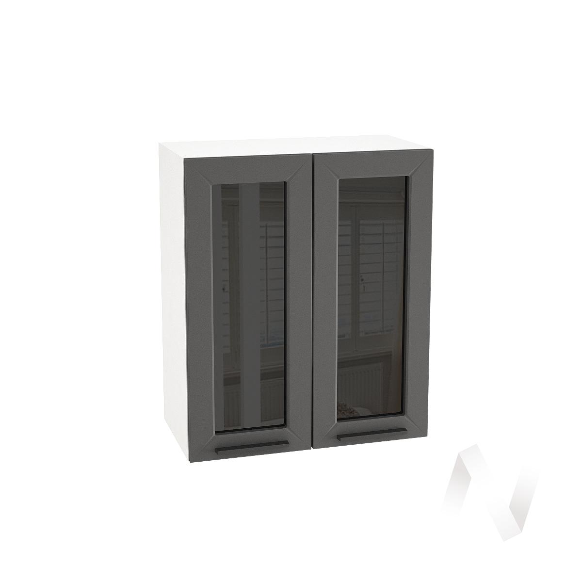 "Кухня ""Глетчер"": Шкаф верхний со стеклом 600, ШВС 600 (Маренго силк/корпус белый)"