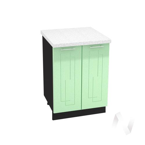 """Кухня """"Вега"""": Шкаф нижний 600, ШН 600 (салатовый металлик/корпус венге)"""
