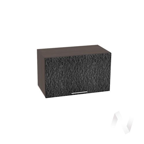 """Кухня """"Валерия-М"""": Шкаф верхний горизонтальный 600, ШВГ 600 (дождь черный/корпус венге)"""