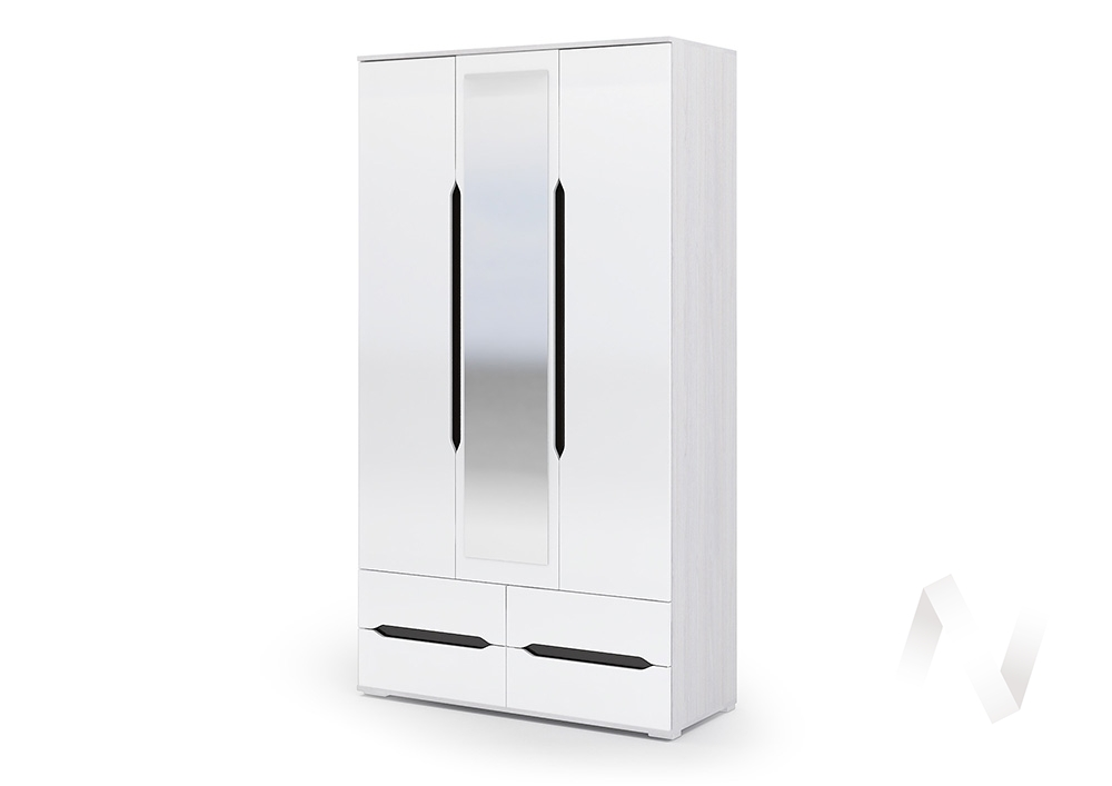 Шкаф ШК 033 Спальня Валирия (анкор/белый глянец)