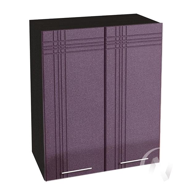 """Кухня """"Струна"""": Шкаф верхний 600, ШВ 600 (фиолетовый металлик/корпус венге)"""