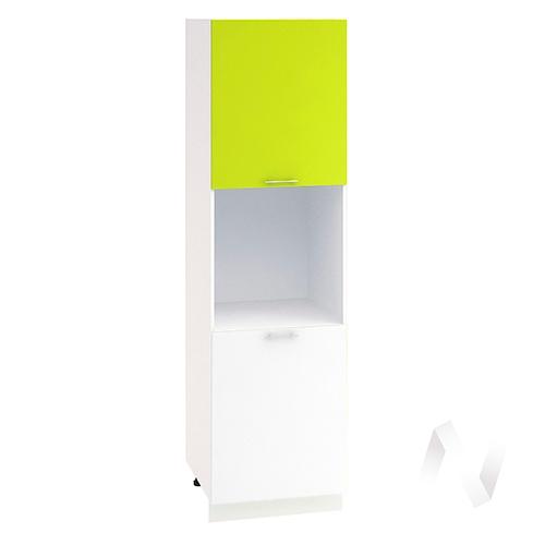 """Кухня """"Валерия-М"""": Шкаф пенал 600, ШП 600 (лайм глянец/белый глянец/корпус белый)"""