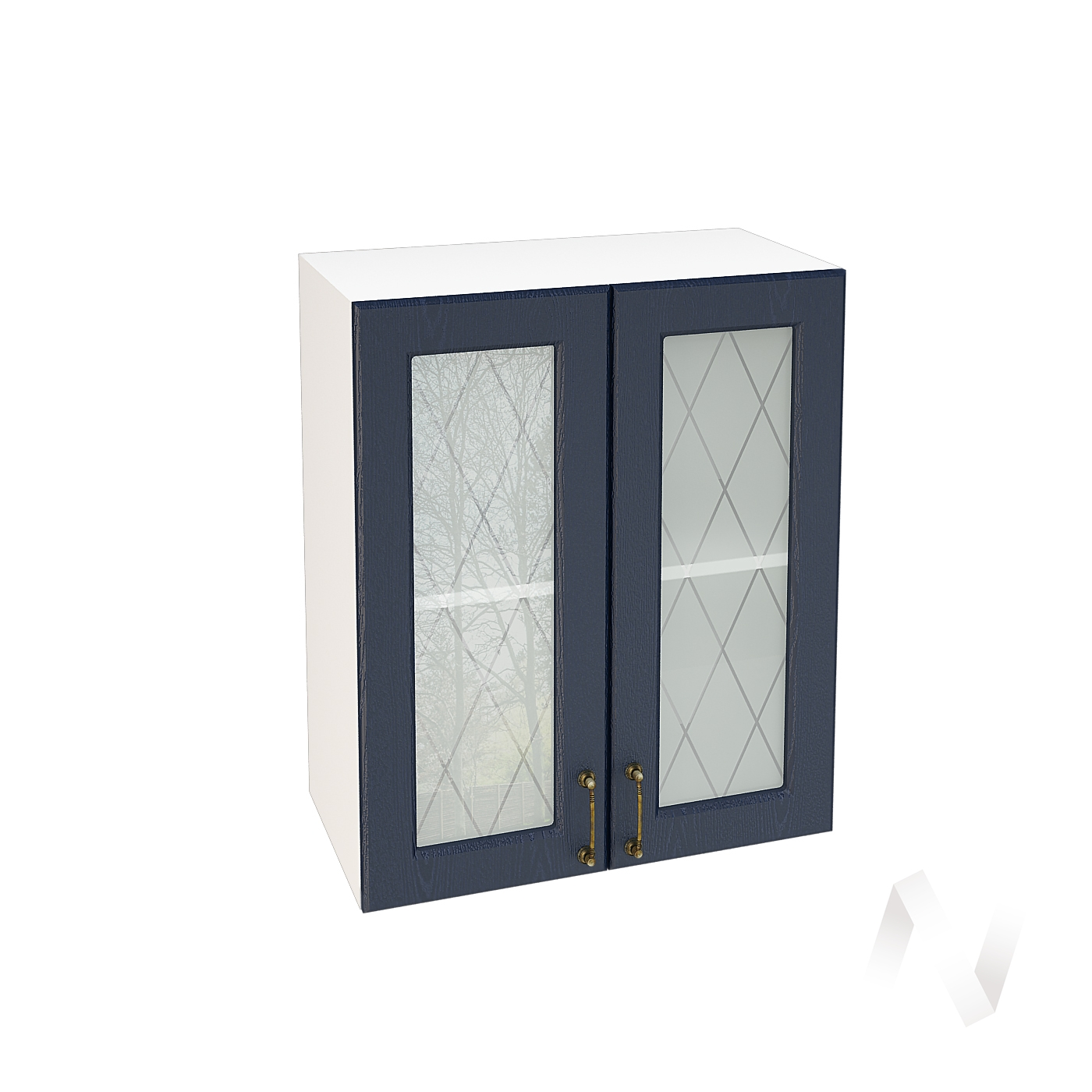 """Кухня """"Ницца"""": Шкаф верхний со стеклом 600, ШВС 600 (Дуб чернильный/корпус белый)"""