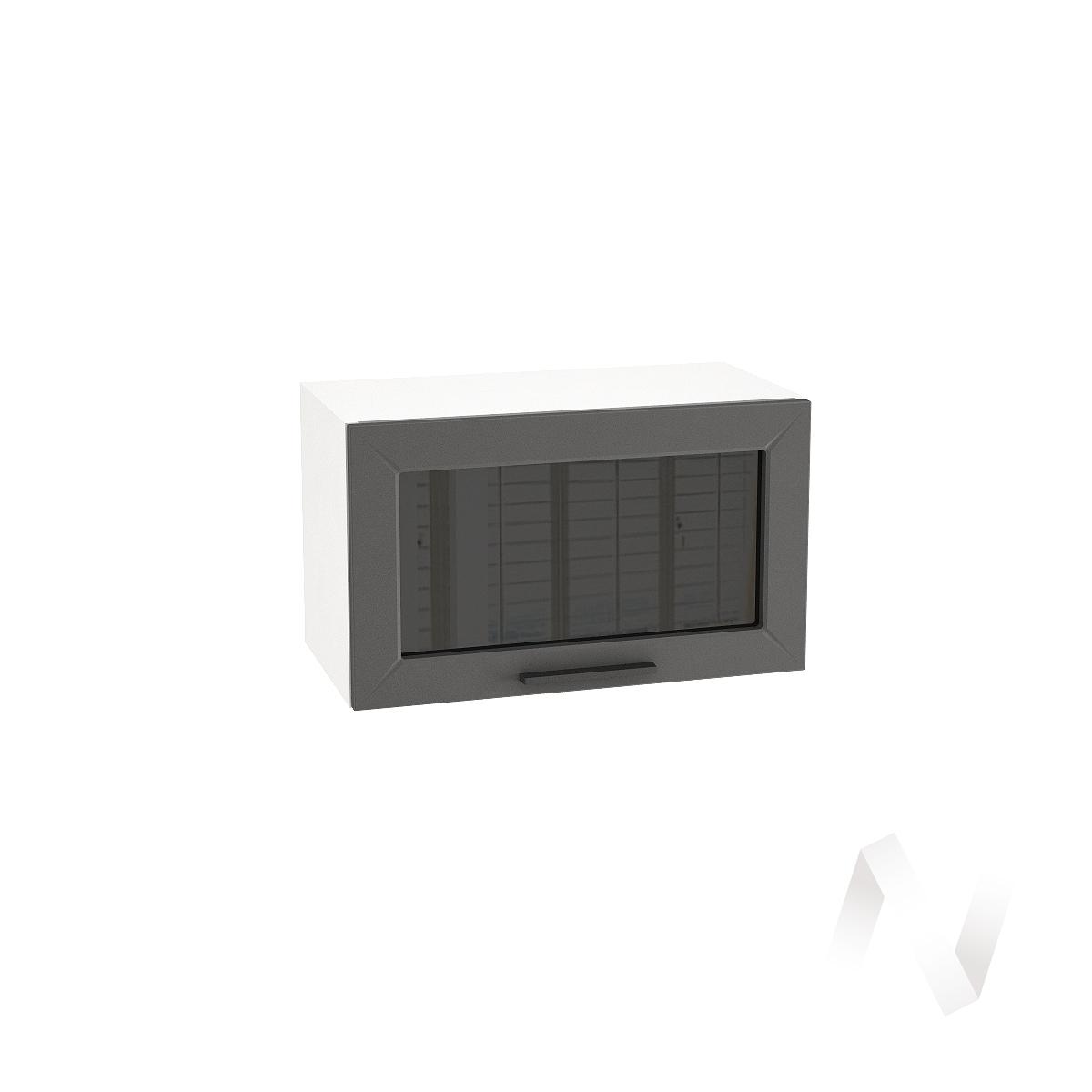 """Кухня """"Глетчер"""": Шкаф верхний горизонтальный со стеклом 600, ШВГС 600 (Маренго силк/корпус белый)"""