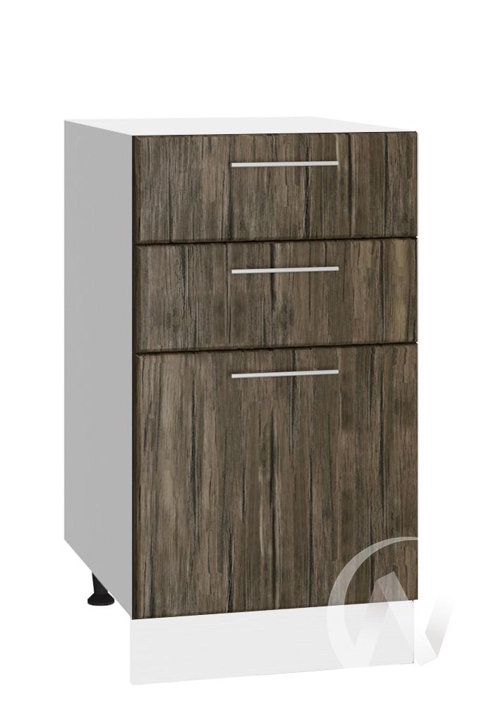 """Кухня """"Норден"""": Шкаф нижний с 3-мя ящиками 400, ШН3Я 400 (старое дерево/корпус белый)"""