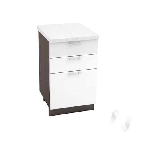 """Кухня """"Валерия-М"""": Шкаф нижний с 3-мя ящиками 500, ШН3Я 500 (белый глянец/корпус венге)"""