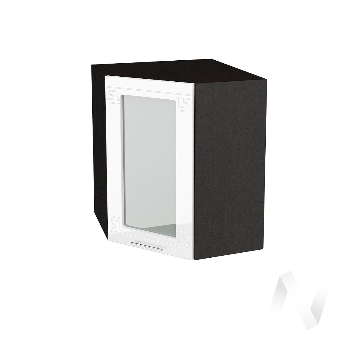"""Кухня """"Греция"""": Шкаф верхний угловой со стеклом 590, ШВУС 590 (белый металлик/корпус венге)"""