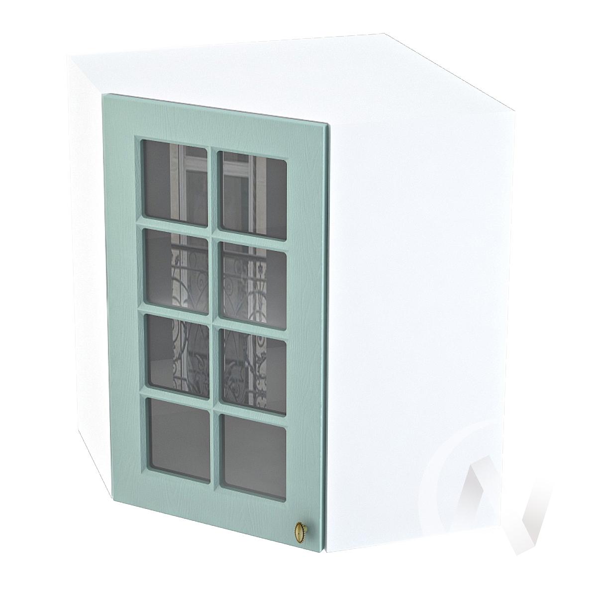 """Кухня """"Прованс"""": Шкаф верхний угловой со стеклом 590, ШВУС 590 (голубой/корпус белый)"""