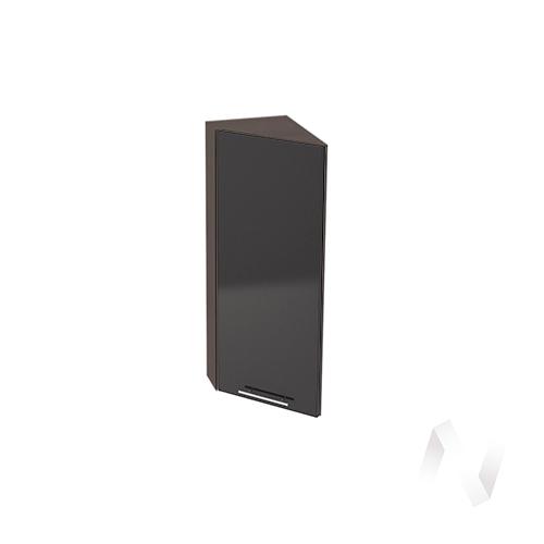 """Кухня """"Валерия-М"""": Шкаф верхний торцевой 224, ШВТ 224 (черный металлик/корпус венге)"""