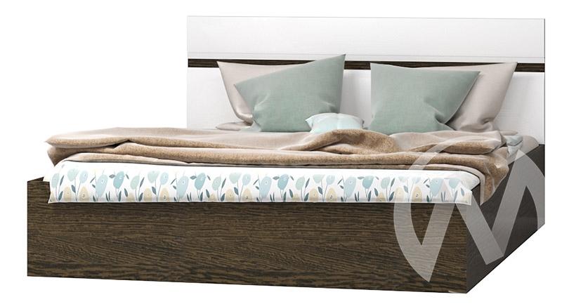 Кровать 1,6 Николь МДФ (венге/белый глянец)