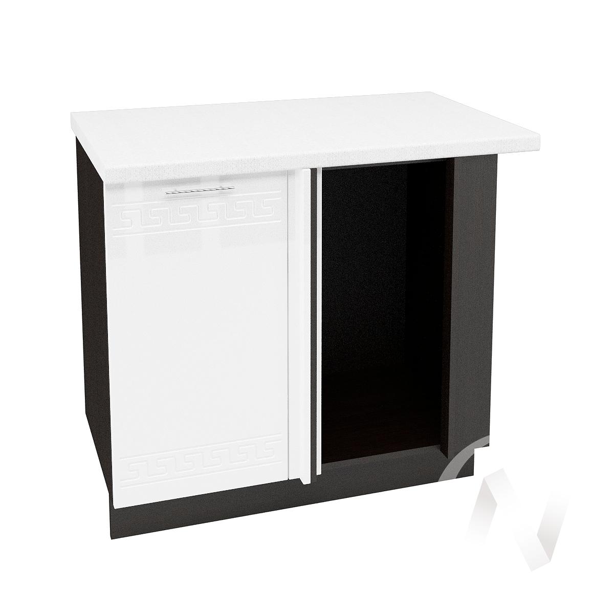 """Кухня """"Греция"""": Шкаф нижний угловой 990М, ШНУ 990М (белый металлик/корпус венге)"""
