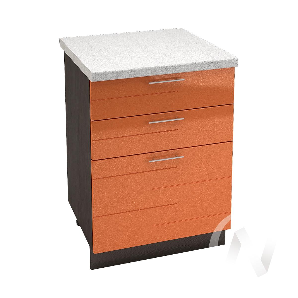 """Кухня """"Техно"""": Шкаф нижний с 3-мя ящиками 600, ШН3Я 600 (корпус венге)"""