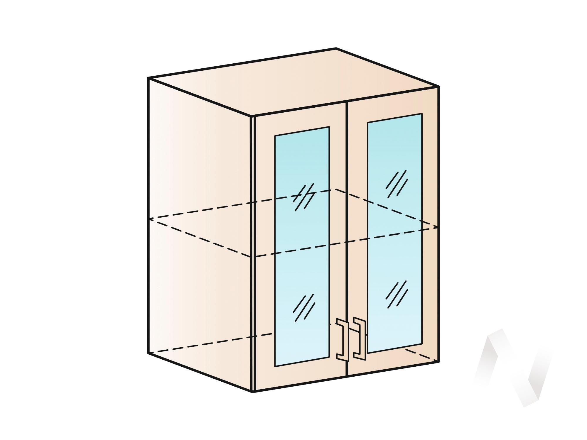 """Кухня """"Люкс"""": Шкаф верхний со стеклом 600, ШВС 600 (Шелк жемчуг/корпус белый) в Томске — авторская мебель Экостиль"""