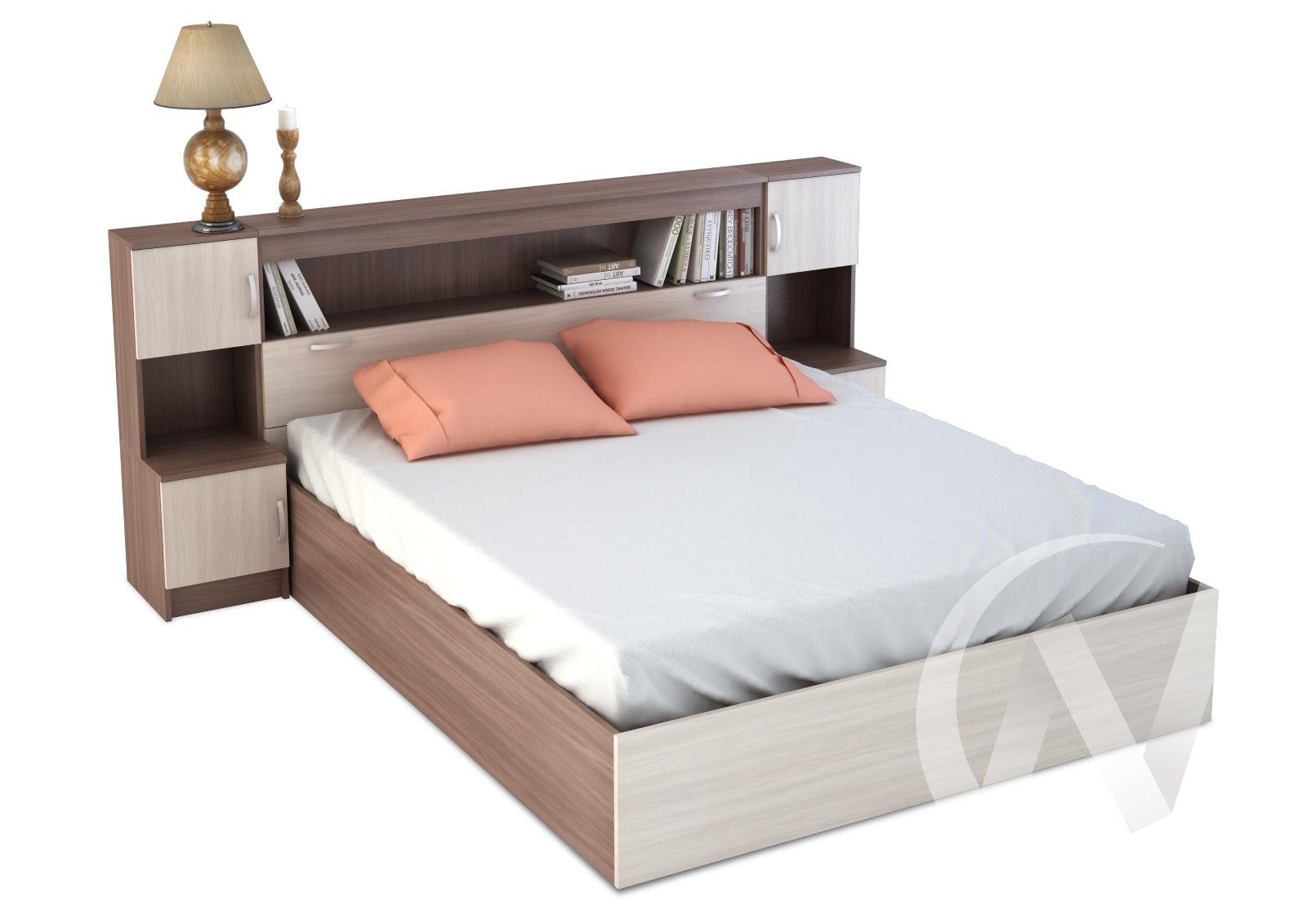 Бася Кровать с закроватным модулем ЛДСП(ясень шимо тем/ясень шимо свет) КР 552