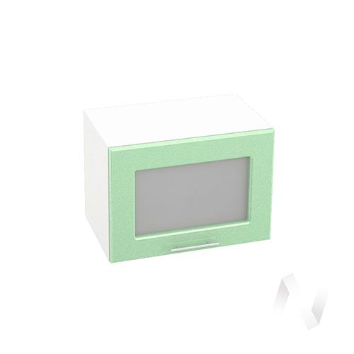 """Кухня """"Вега"""": Шкаф верхний горизонтальный со стеклом 500, ШВГС 500 (салатовый металлик/корпус белый)"""