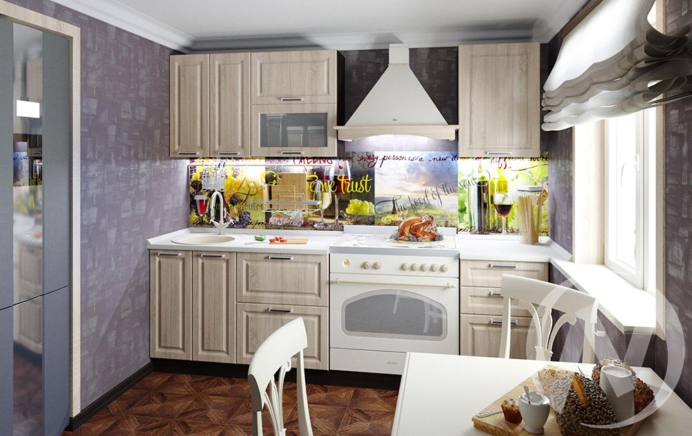 """Кухня """"Прага"""" (дуб сонома/корпус венге) в Томске — авторская мебель Экостиль"""