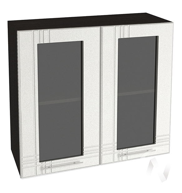 """Кухня """"Струна"""": Шкаф верхний со стеклом 800, ШВС 800 (белый металлик/корпус венге)"""