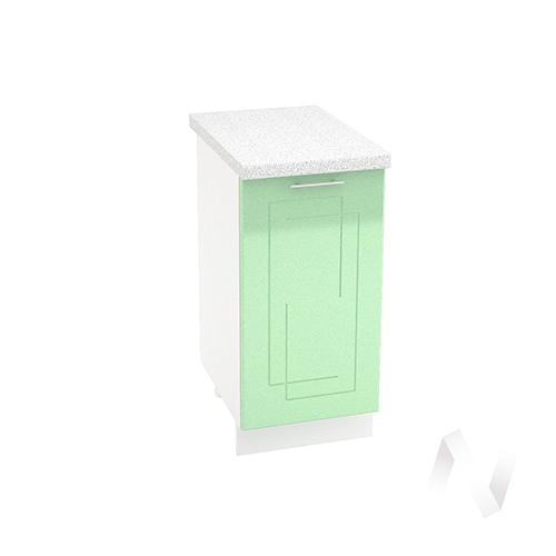 "Кухня ""Вега"": Шкаф нижний 400, ШН 400 (салатовый металлик/корпус белый)"