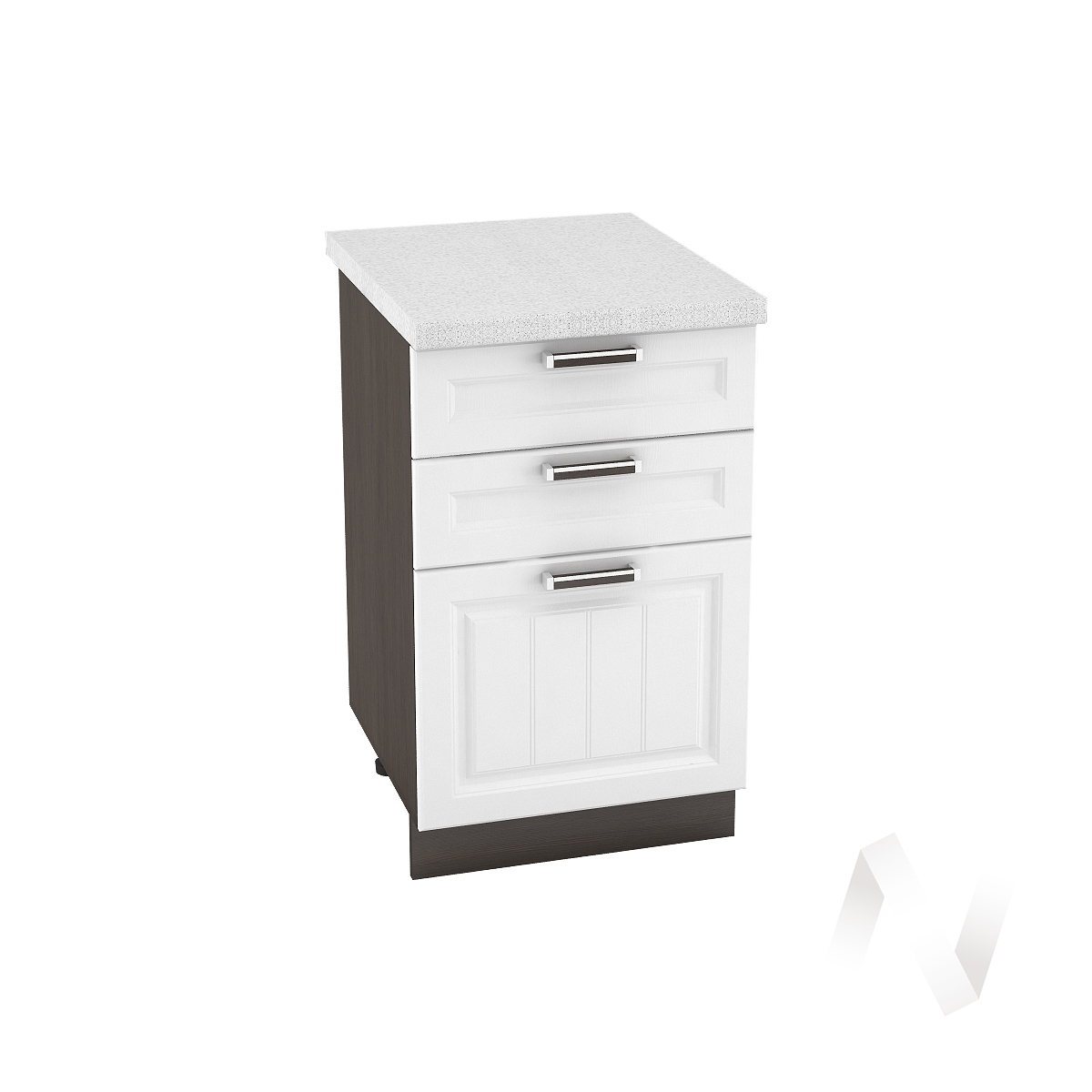 """Кухня """"Прага"""": Шкаф нижний с 3-мя ящиками 500, ШН3Я 500 (белое дерево/корпус венге)"""