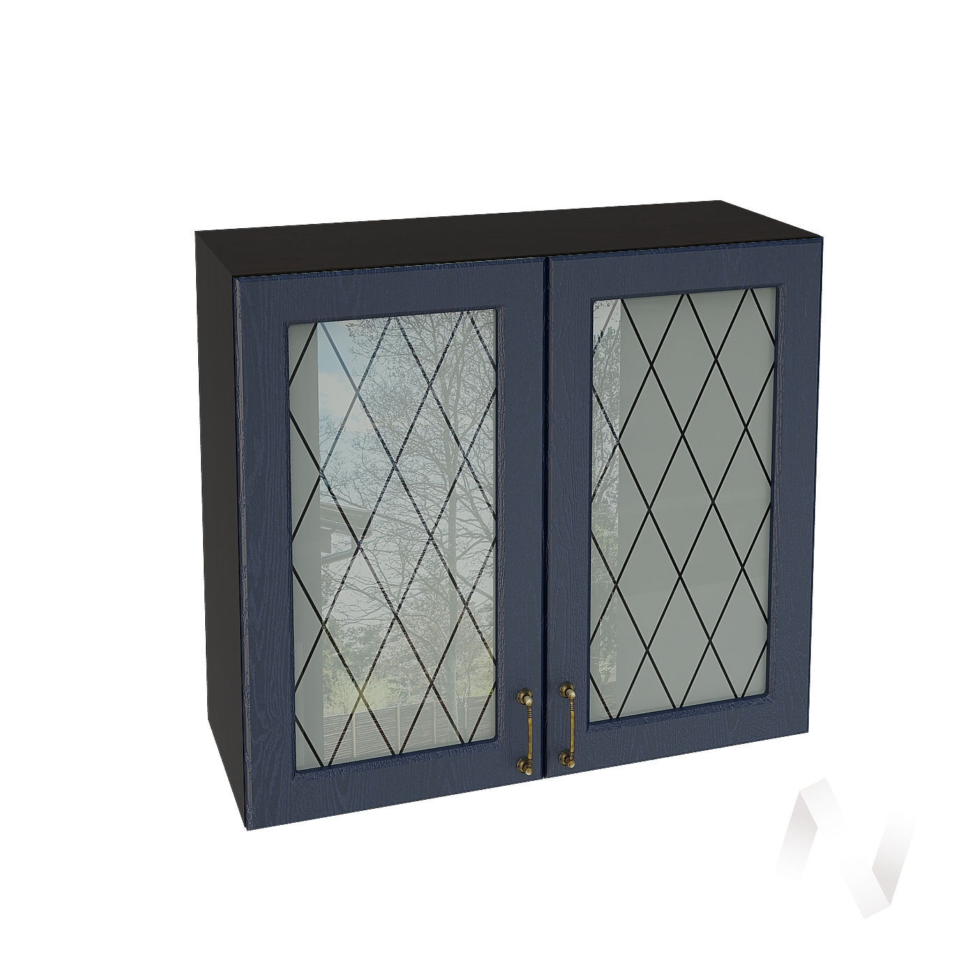 """Кухня """"Ницца"""": Шкаф верхний со стеклом 800, ШВС 800 (Дуб чернильный/корпус венге)"""