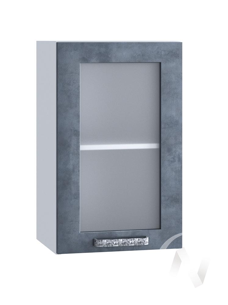 "Кухня ""Лофт"": Шкаф верхний со стеклом 400, ШВС 400 (Бетон графит/корпус белый)"