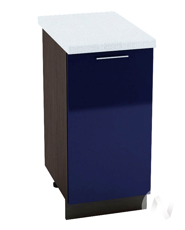 "Кухня ""Валерия-М"": Шкаф нижний 400, ШН 400 (Синий глянец/корпус венге)"