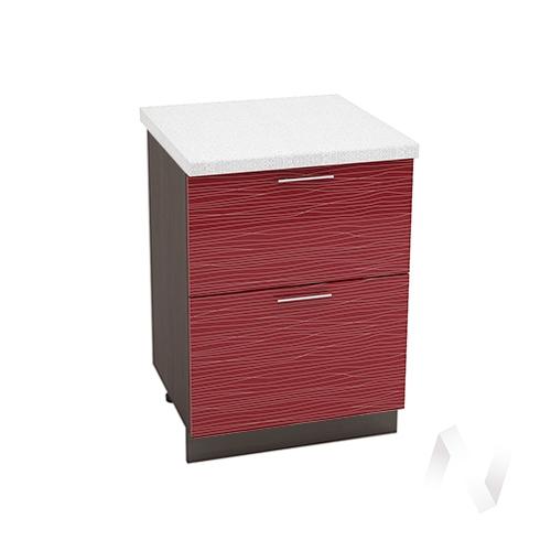 """Кухня """"Валерия-М"""": Шкаф нижний с 2-мя ящиками 600, ШН2Я 600 (Страйп красный/корпус венге)"""