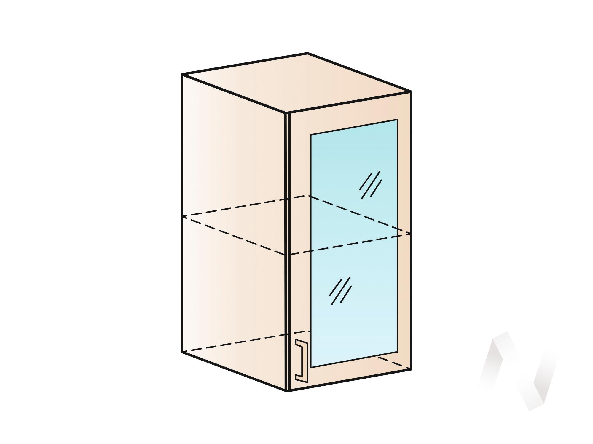 """Кухня """"Люкс"""": Шкаф верхний со стеклом 400, ШВС 400 (Шелк жемчуг/корпус венге) в Томске — авторская мебель Экостиль"""