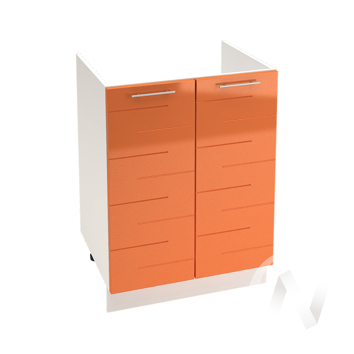 """Кухня """"Техно"""": Шкаф нижний под мойку 600, ШНМ 600 (корпус белый)"""
