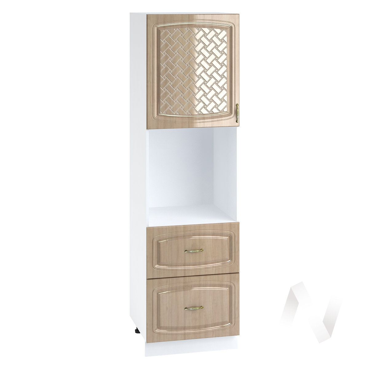 "Кухня ""Сити"": Шкаф пенал с 2-мя ящиками 600, ШП2Я 600 (корпус белый)"